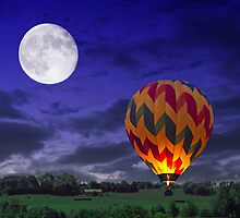 Night Time Surreal Landscape with Hot Air Balloon by kittysnake
