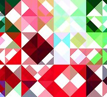Mixed color Poinsettias 1 Abstract Triangles 1 by Christopher Johnson