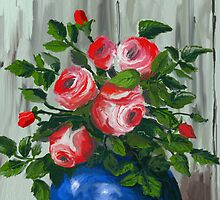 Roses in a Blue Vase by Sandra  Aguirre