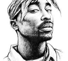 Tupac Shakur 2pac Drawing Art by kim  wang