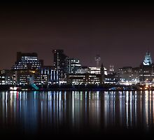 Liverpool Skyline Panoramic At Night by Paul Madden