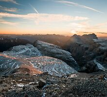 Sunset panorama from Piz Boe by peterwey