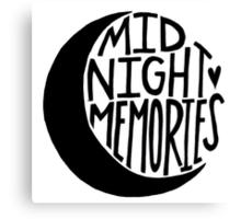 Midnight Memories Moon- Black Canvas Print