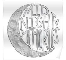 Midnight Memories Moon- Gray  Poster
