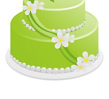 Green Cake With Flowers by kwg2200