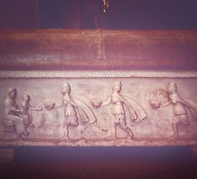 Mary and 3 magi with gifts sarcophagus San Vitale Ravenna Italy 198404140037 by Fred Mitchell
