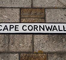 Cape Cornwall sign in St Just Cornwall by Keith Larby