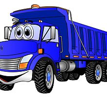 Dump Truck 3 Axle Blue Cartoon by Graphxpro