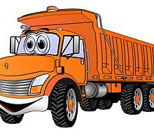 Dump Truck 3 Axle Orange Cartoon by Graphxpro