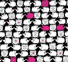 Too Many PINK Hedgehogs  by Melusine Mainville