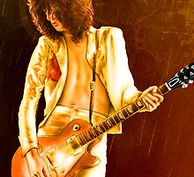 Jimmy Page red hot original art by Dori Hartley by Dori Hartley