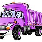 Dump Truck 3 Axle Purple Cartoon by Graphxpro