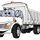 Dump Truck 3 Axle White Cartoon by Graphxpro