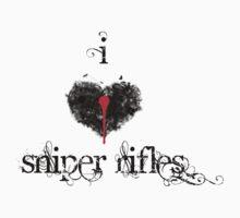I <3 Sniper Rifles (black & red) by Jess Meacham