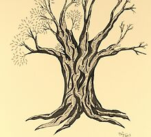 A Little More Serenity Tree in Sepia by Mary-Jeanne Smith