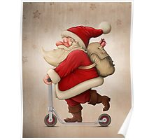 Santa Claus and the Push scooter Poster