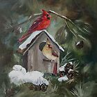 Cardinals on Snow Covered Birdhouse by Brenda Thour