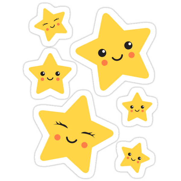 """Cute kawaii stars sticker collection"" Stickers by ..."