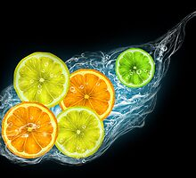 Citrus fruits on a black background by Nika Lerman
