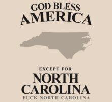 God Bless America Except For North Carolina by crazytees