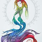 Original Ink Drawing (Rainbow Waves) by Christina Martine