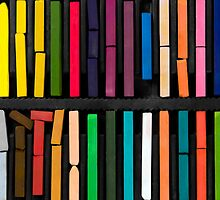 bars of bright and colorful pastel on black background by JoelVieira