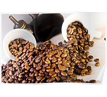 coffee pot two coffee cup and  coffee beans Poster