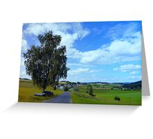 Old tree, country road and a cloudy sky | landscape photography Greeting Card