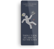 Arrow in the knee book mark Metal Print