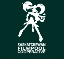 Saskatchewan Filmpool Cooperative logo over the heart 2 - white by SaskFilmpool