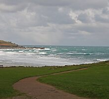 Rough seas at St Ives in Cornwall by Keith Larby