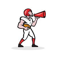 American Football Quarterback Bullhorn Isolated Cartoon by patrimonio