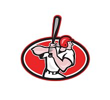 Baseball Player Batting Cartoon Oval by patrimonio