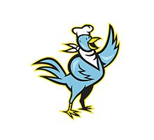 Chicken Chef Cook Standing Waving Wing by patrimonio