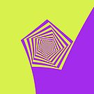 Lemon and Lilac Pentagon Spiral by Objowl