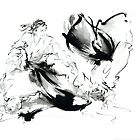 Aikido randori techniques kimono martial arts sumi-e samurai ink painting artwork by Mariusz Szmerdt