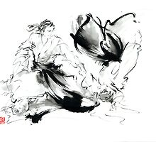 Aikido randori technics martial arts sumi-e samurai ink painting artwork by Mariusz Szmerdt
