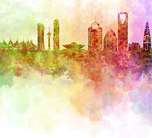 Riyadh skyline in watercolour background  by Pablo Romero