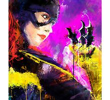 Batgirl Fine Art, Comic Art by j2artist