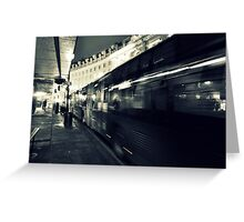 Waiting for the night bus in the dark city street Greeting Card