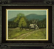 """""""Philip's Place"""", with a textured paper impression, in a matted and framed look by © Bob Hall"""