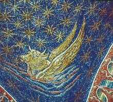 Ox symbol of gospel writer mosaic on roof mid C5 Tomb of Gallia Placida Ravenna Italy 198404140063 by Fred Mitchell