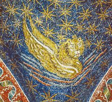 Lion symbol of gospel writer mosaic on roof mid C5 Tomb of Gallia Placida Ravenna Italy 198404140064  by Fred Mitchell