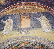 Saints with birds at fountain mosaic mid C5 Tomb of Gallia Placida Ravenna Italy 198404140065 by Fred Mitchell