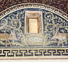 Deer beside pool mosaic mid C5 Tomb of Gallia Placida Ravenna Italy 198404140071 by Fred Mitchell