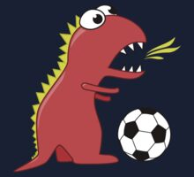Funny Cartoon Dinosaur Soccer Dark Shirt by Boriana Giormova