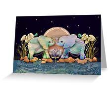 Lotus Flower Elephants of the Rainbow Greeting Card