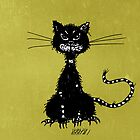 Olive Green Grunge Ragged Evil Black Cat by Boriana Giormova