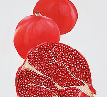 Pomegranate Painting by cathy savels