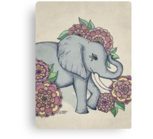 Little Elephant in soft vintage pastels Canvas Print